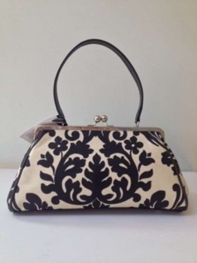 Glenda Geis Jackie Top Open Bag. Satchel in Black / ivory mosaic