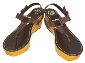 Tory Burch T-strap Leather Wedges Platform BROWN Sandals