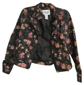 American Rag Darker Brown with pink/orange/gold flowers Leather Jacket