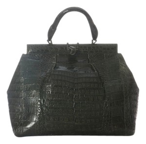 Nancy Gonzalez Dark Green Crocodile Suede Satchel