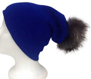 Winter Acrylic Blue Beanie Hat With Natural Silver Fox Fur Pom Pom One Size Fits All