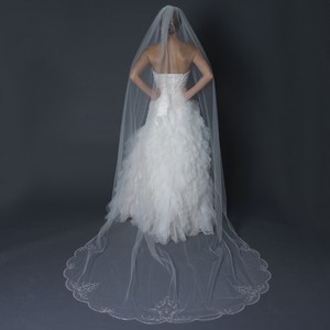 Elegance by Carbonneau Ivory Long Beaded Embroidery Cathedral Length Bridal Veil