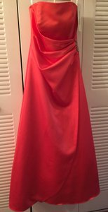 David's Bridal Guava Satin Gown With Side Drape & Brooch Dress - Apple (style #8567) Dress