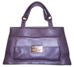 Adrienne Vittadini Leather Satchel in purple