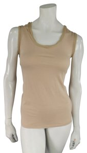 Lanvin Nude Trim Raw Edge Summer Top Beige