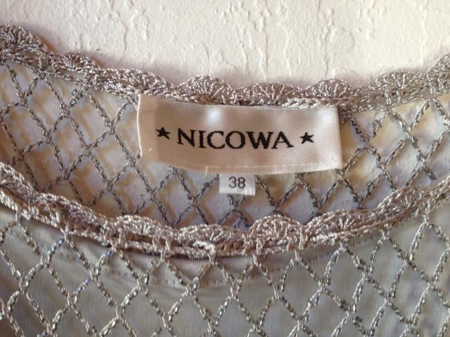 Nicowa Italian Beaded With Crocheted Hem 3/4 Sleeve Crochet Italy Bead Disco Sheer Top Silver