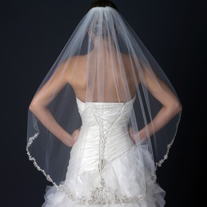 Elegance By Carbonneau Ivory Beaded Fingertip Wedding Veil