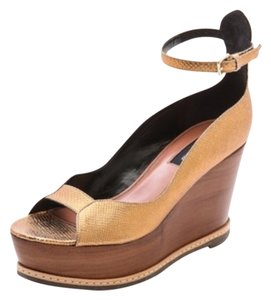 Derek Lam Gold Ankle Strap Bronze Wedges