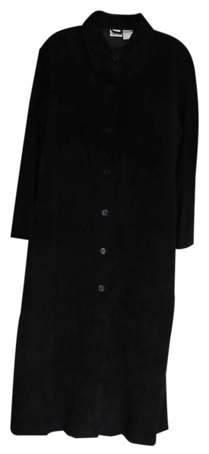 Newport News Suede Leather Maxi Trench Coat