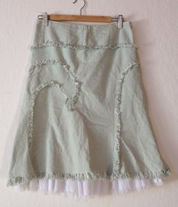 Elevenses Pinstripe Frayed Anthropologie Wave Shabby Chic Shabby Skirt Green