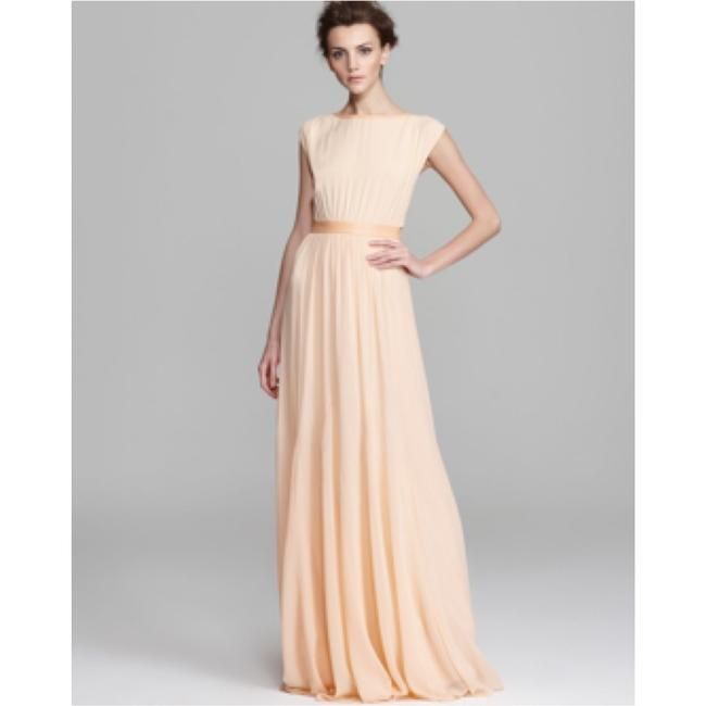 Item - Almond Silk and Leather Feminine Bridesmaid/Mob Dress Size 0 (XS)
