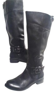 Gianni Bini Buckle Detail Leather Tall Knee Double Zipper Detail Size 6.5 Black Boots