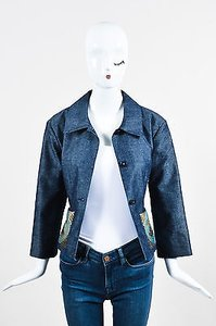 Chanel Identification Denim Sequin Pointed Collar Womens Jean Jacket