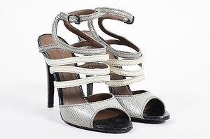 Bottega Veneta White Black Snakeskin Leather Strappy Heeled Gray Sandals