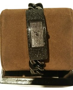 Michael Kors MICHAEL KORS HAYDEN BLACK CRYSTAL PAVE BLING GLITZ CHAIN LINK RECTANGLE WATCH NEW WITH TAG AND IN DESIGNER BOX