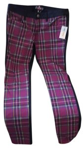 Royal Bones Hot Topic Skinny Pants Black back with Burgundy plaid front