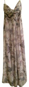 Gray with Pink Flowers Maxi Dress by Donna Morgan