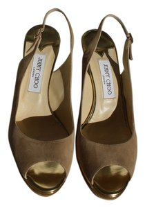 Jimmy Choo Suede Nude Leather Gold Nude Suede Pumps