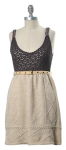 Free People short dress Beige Cable Knit Belted Jumper on Tradesy