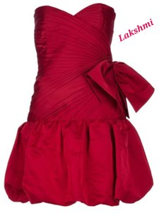 Valentino Red Silk New Strapless Cocktail Feminine Bridesmaid/Mob Dress Size 4 (S)