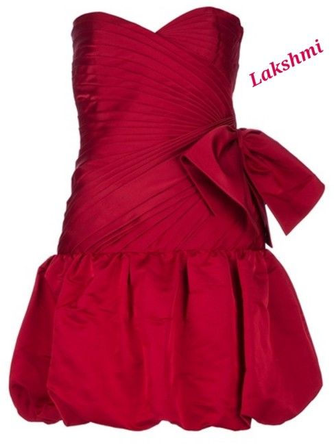 Item - Red Silk New Strapless Cocktail Feminine Bridesmaid/Mob Dress Size 4 (S)