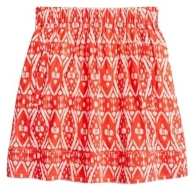 J.Crew Ikat Mini Skirt red, white
