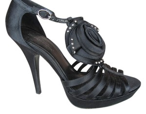 BCBGeneration T Strap Peep Toe Black Platforms