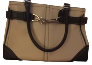 Coach Leather Tote in Cream/Chocolate