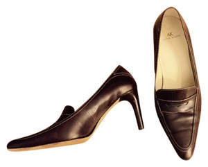 Anne Klein Leather Work Preppy Professional Pointed Toe Brown Pumps