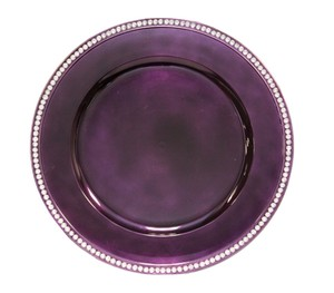 96 Purple Plum Crystal Rimmed Charger Plates