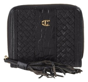 Just Cavalli NEW Roberto Cavalli black leather wallet with tassle