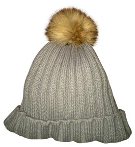 Other Real Fur Pom Pom Gray Beanie