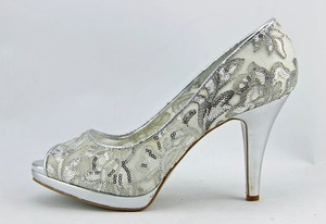 Nine West Sequins Wedding White Silver Wedding Shoes