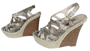 Boutique 9 Snakeskin Animal Print Cork Ankle Strap Beige Wedges