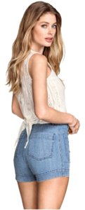 H&M Lace Summer Lace Open Back Beige Crochet Tie Back Top White ivory