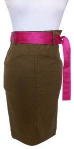 Diane von Furstenberg Pencil Utilty Cargo Sash Military Skirt Olive Green