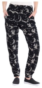 Printed Pants Baggy Pants Black