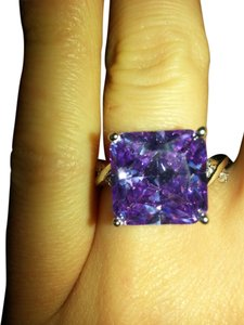 9.2.5 Gorgeous purple tourmaline and white sapphire cocktail ring size 9