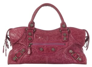 Balenciaga Bg.k0126.01 Gsh Magenta Leather Motorcycle Satchel