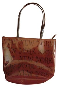 New York & Company Tote in Brow Raisin with Black Letters