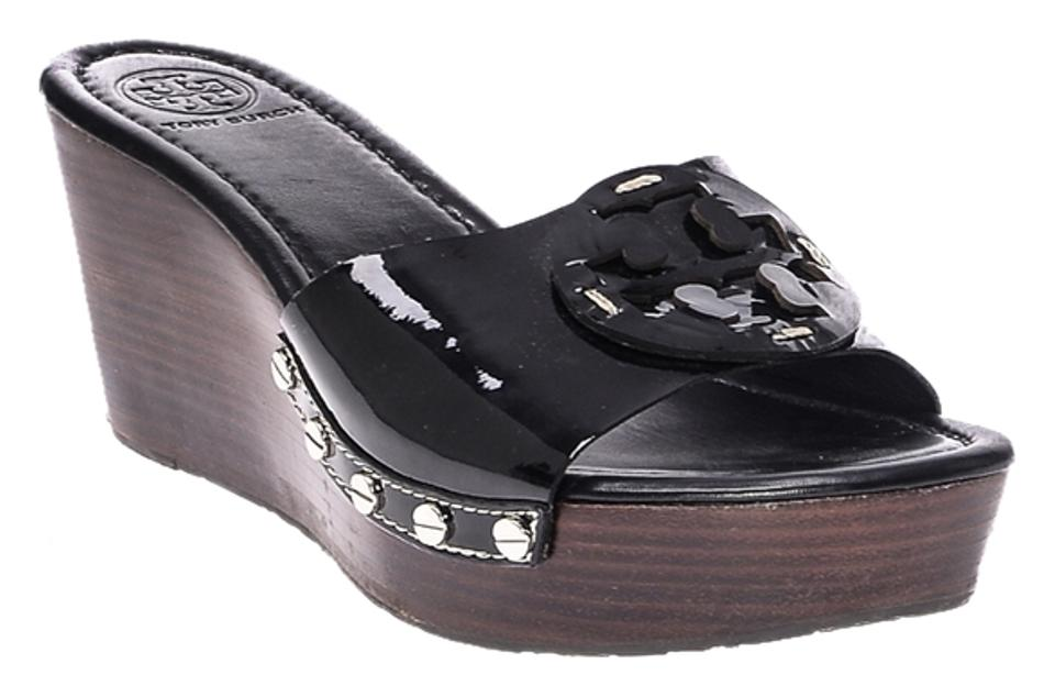 5444b1a62bc9a Tory Burch Black Women s Patti Patent Leather Slide Sandals Wedges ...