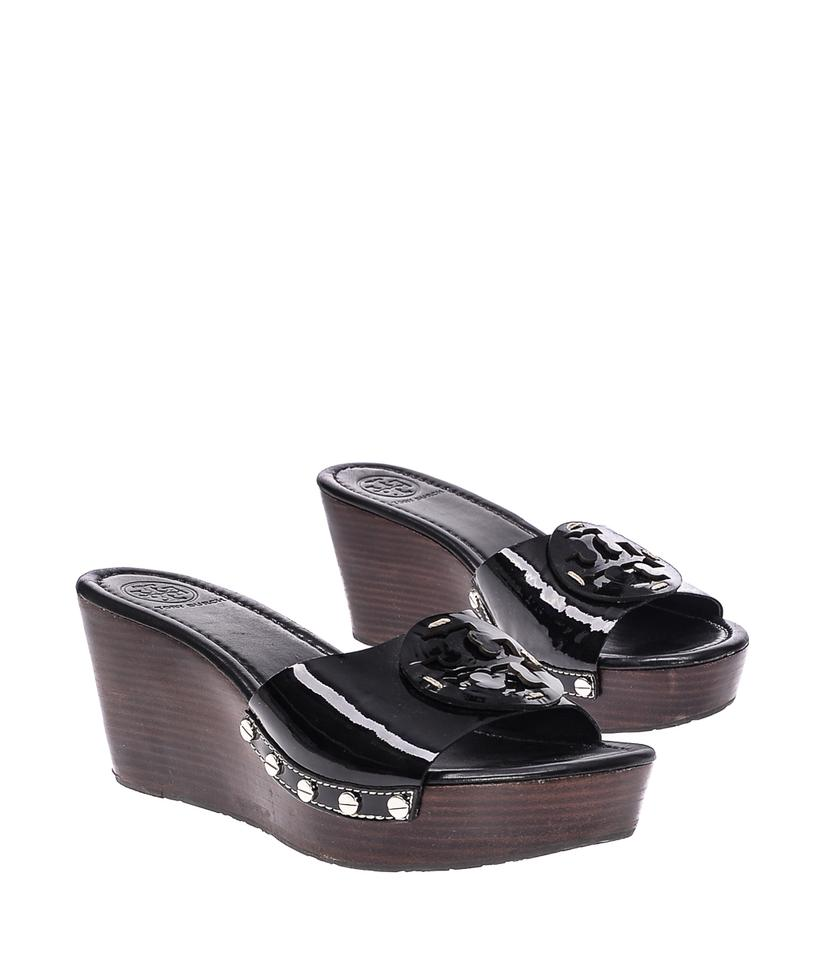 b6fe57d8242b4d Tory Burch Patti Patent Leather Slides Sandals Heels Black Wedges Image 6.  1234567