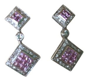 Neiman Marcus DANGLING DIAMOND AND PINK SAPPHIRE EARRINGS IN 14K WHITE GOLD-NEW