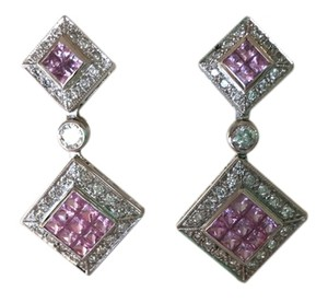 Neiman Marcus AUTHENTIC NEW DIAMOND AND PINK SAPPHIRE EARRINGS IN 14K WHITE GOLD