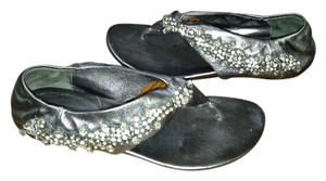 Vera Wang Lavender Label Beaded Silver Sandals