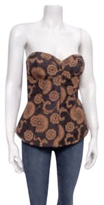 Trina Turk Jacquard Bustier Strapless Top Black and tan