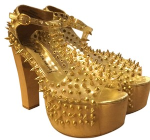Jeffrey Campbell Gold/clear Platforms