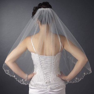 Elegance By Carbonneau Ivory Beaded Embroidery Elbow Wedding Veil