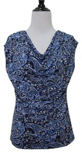 Kate Hill Paisley Spring Summer Draped Sleeveless Top Blue