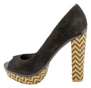 SCHUTZ Cara Heel Boho Raffia Tribal Reptile Black Brazil Pull Ons Hot Style Comfort Quality Preto Chunky Nubuck Suede Leather Black (Preto) Platforms